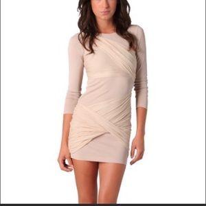 Alicia + Olivia Tan Long Sleeve Dress with Drapery